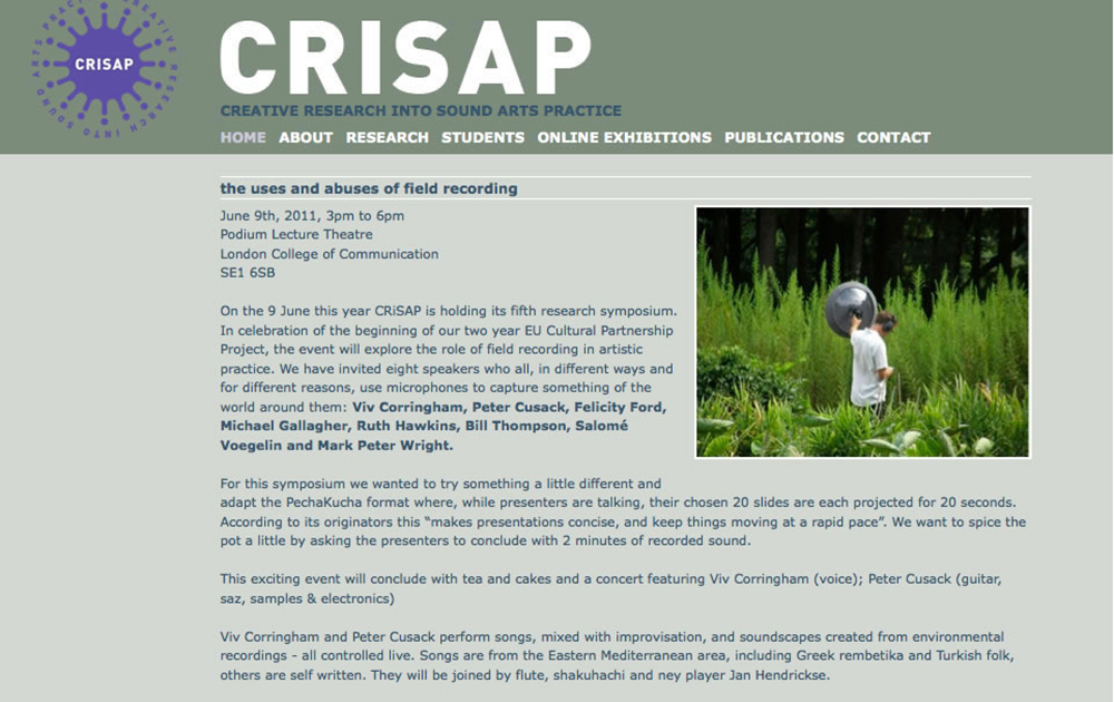 CRISAP The uses and abuses of field recording 2011