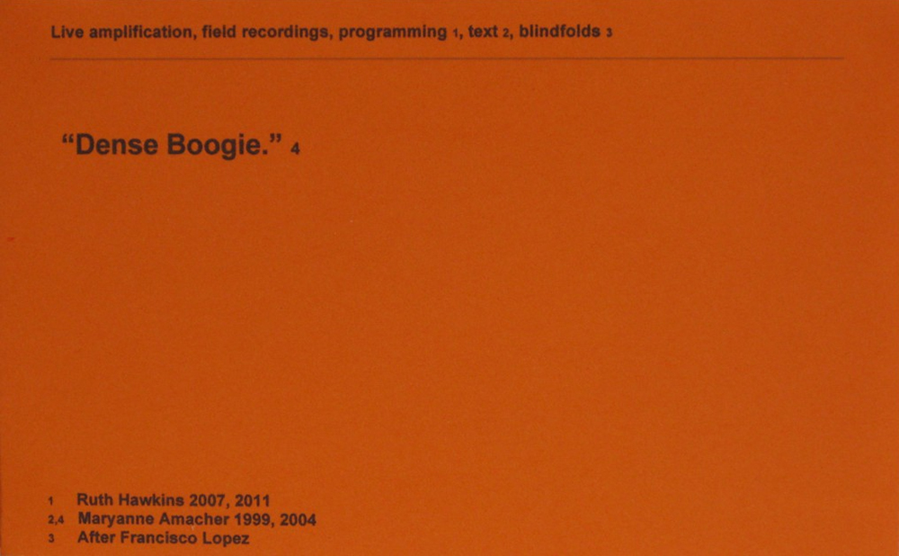 """Dense Boogie"": live amplification, field recordings, programming, text, blindfolds (wall text 2011)"